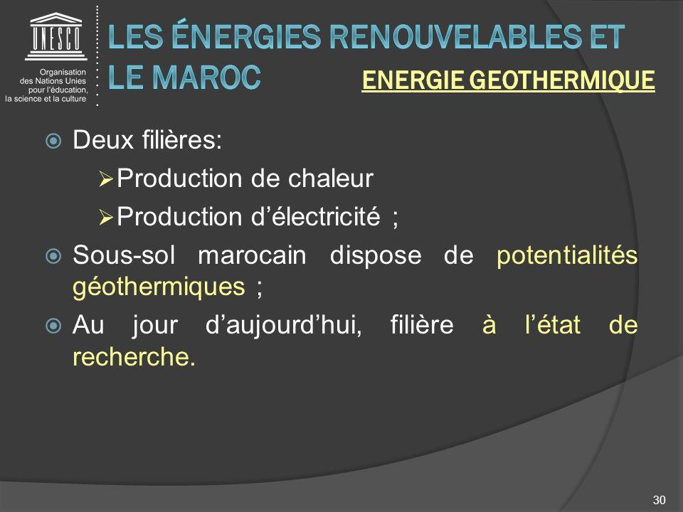 Deux filières: Production de chaleur Production délectricité ; Sous-sol marocain dispose de potentialités géothermiques ; Au jour daujourdhui, filière