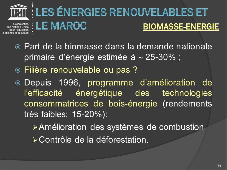 Part de la biomasse dans la demande nationale primaire dénergie estimée à 25-30% ; Filière renouvelable ou pas ? Depuis 1996, programme damélioration