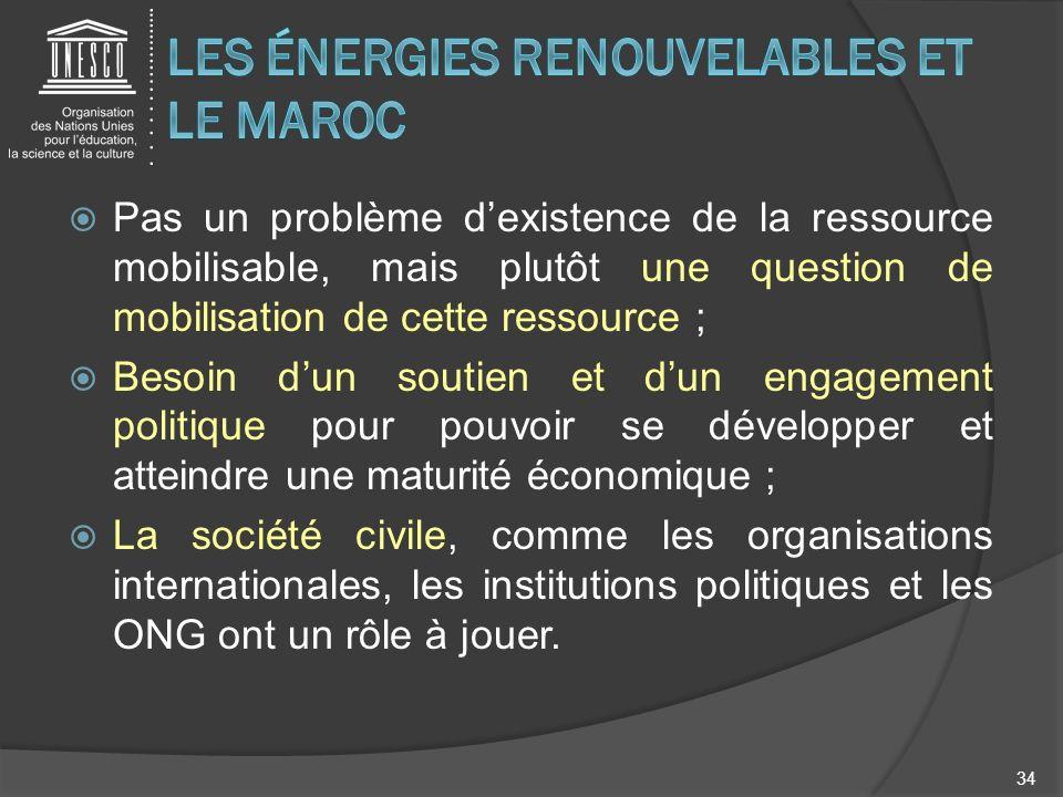 Pas un problème dexistence de la ressource mobilisable, mais plutôt une question de mobilisation de cette ressource ; Besoin dun soutien et dun engage