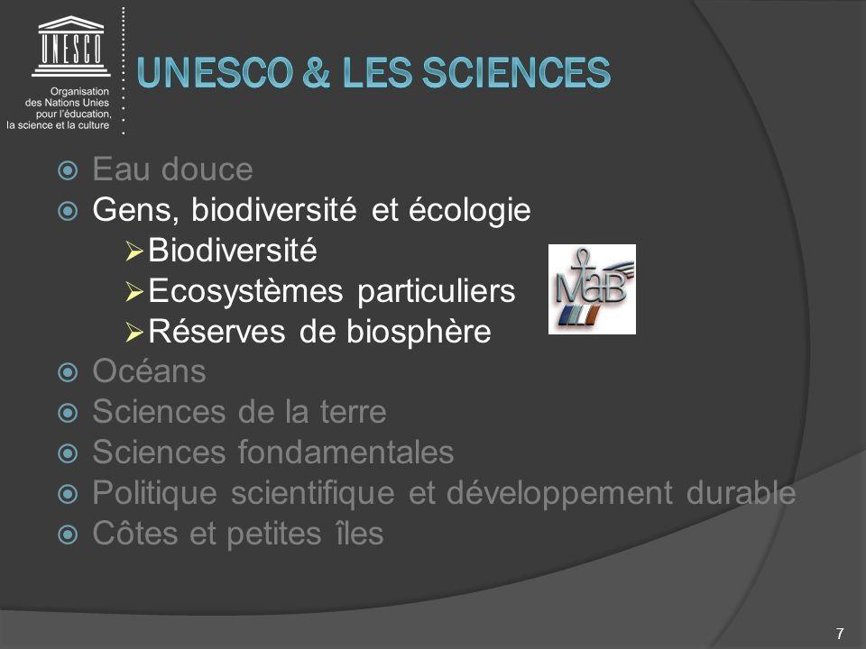 Eau douce Gens, biodiversité et écologie Biodiversité Ecosystèmes particuliers Réserves de biosphère Océans Sciences de la terre Sciences fondamentale
