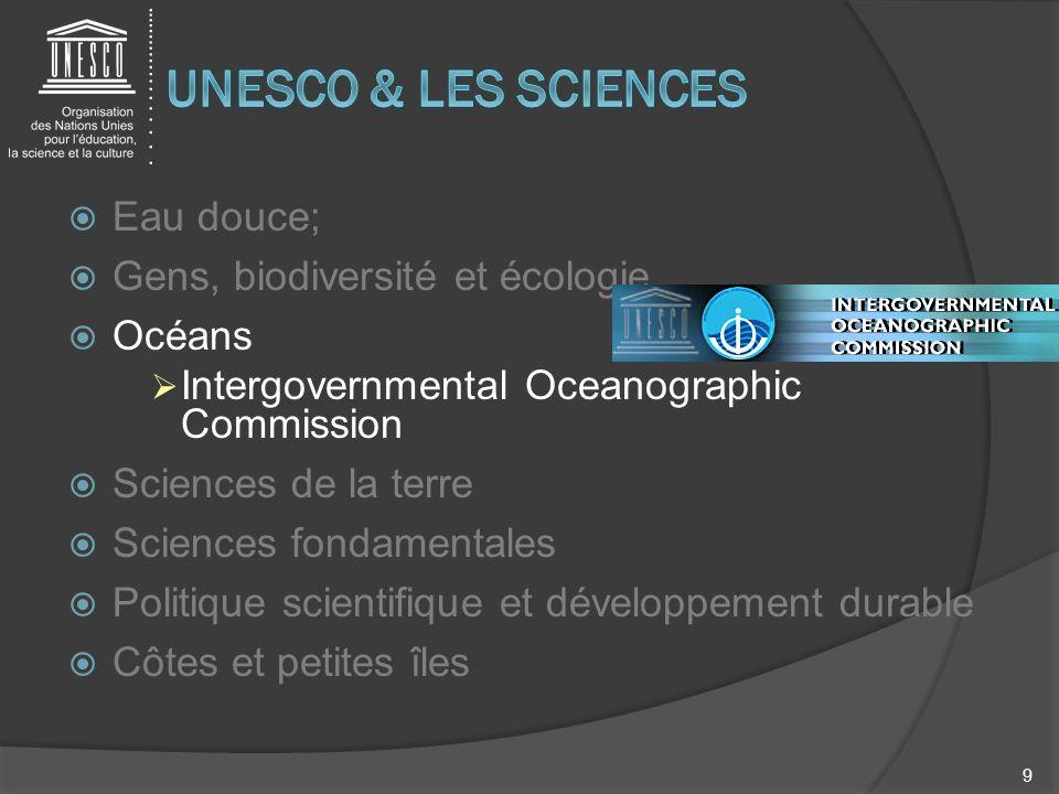 Eau douce; Gens, biodiversité et écologie Océans Intergovernmental Oceanographic Commission Sciences de la terre Sciences fondamentales Politique scie
