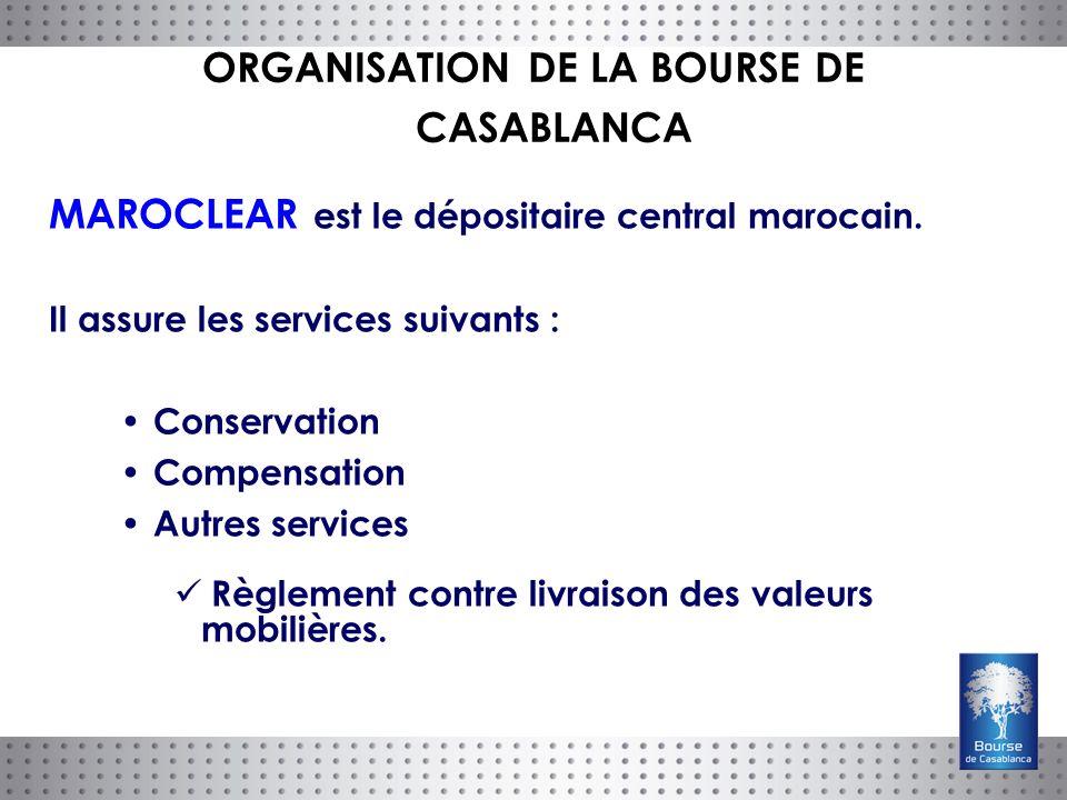 MAROCLEAR est le dépositaire central marocain. Il assure les services suivants : Conservation Compensation Autres services Règlement contre livraison