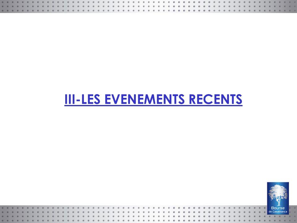 III-LES EVENEMENTS RECENTS