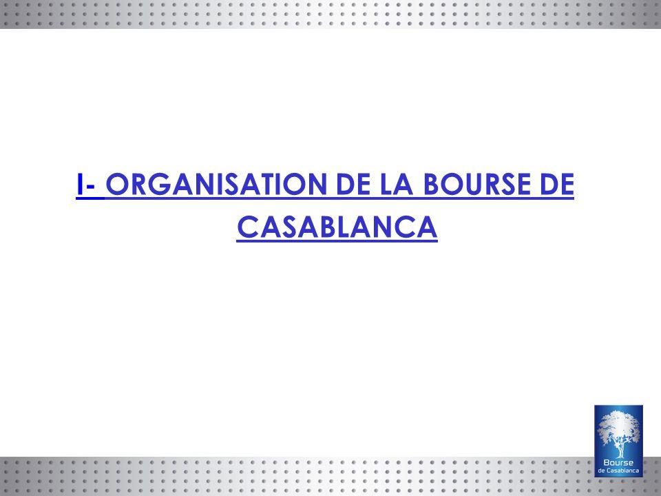 I- ORGANISATION DE LA BOURSE DE CASABLANCA