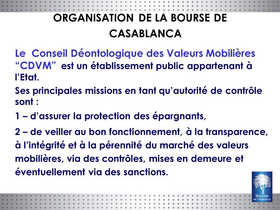 Le Conseil Déontologique des Valeurs Mobilières CDVM est un établissement public appartenant à lEtat.