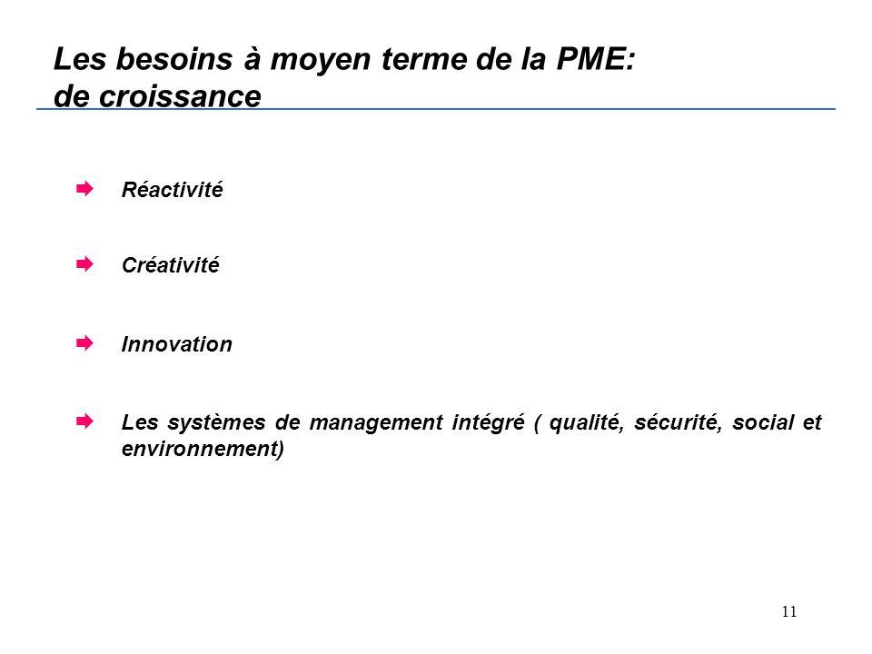 10 Les besoins immédiat de la PME : de survie Commercial Besoins en financement Amélioration de la productivité et qualité Amélioration du management Développement des compétences
