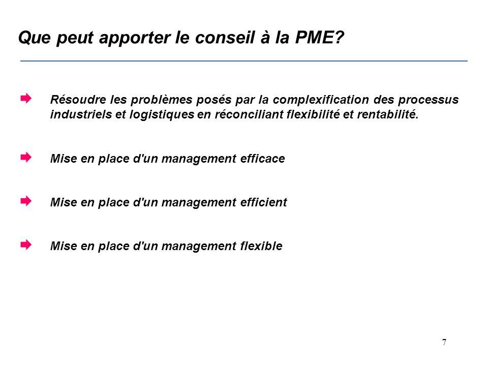6 Que peut apporter le conseil à la PME.