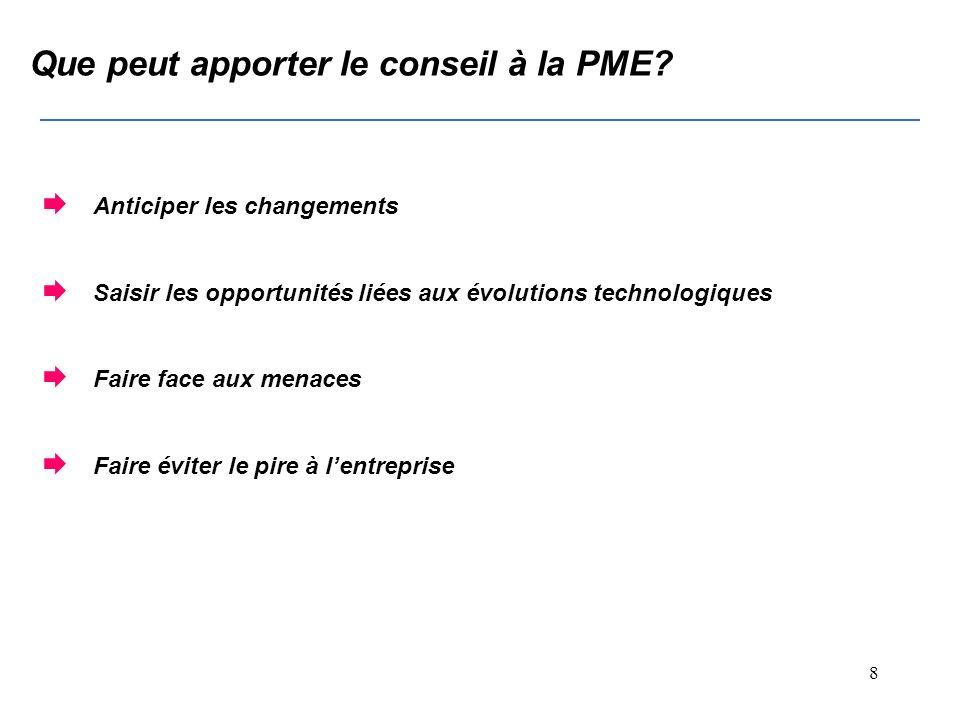 7 Que peut apporter le conseil à la PME.