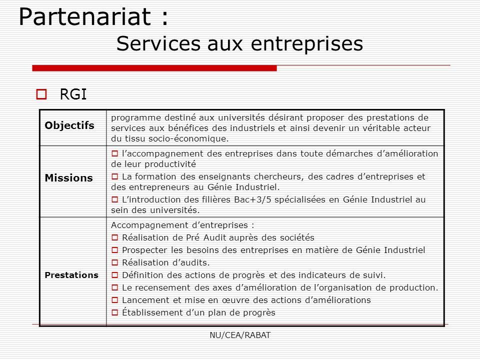 NU/CEA/RABAT RGI Objectifs programme destiné aux universités désirant proposer des prestations de services aux bénéfices des industriels et ainsi deve