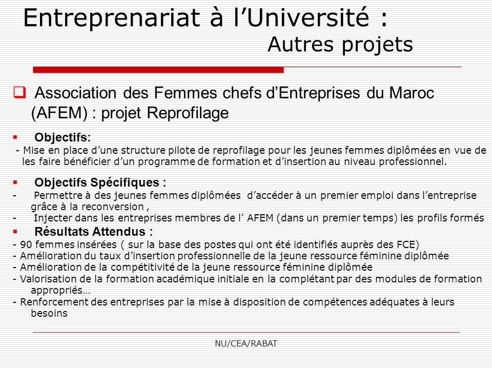 NU/CEA/RABAT Association des Femmes chefs dEntreprises du Maroc (AFEM) : projet Reprofilage Objectifs: - Mise en place dune structure pilote de reprof