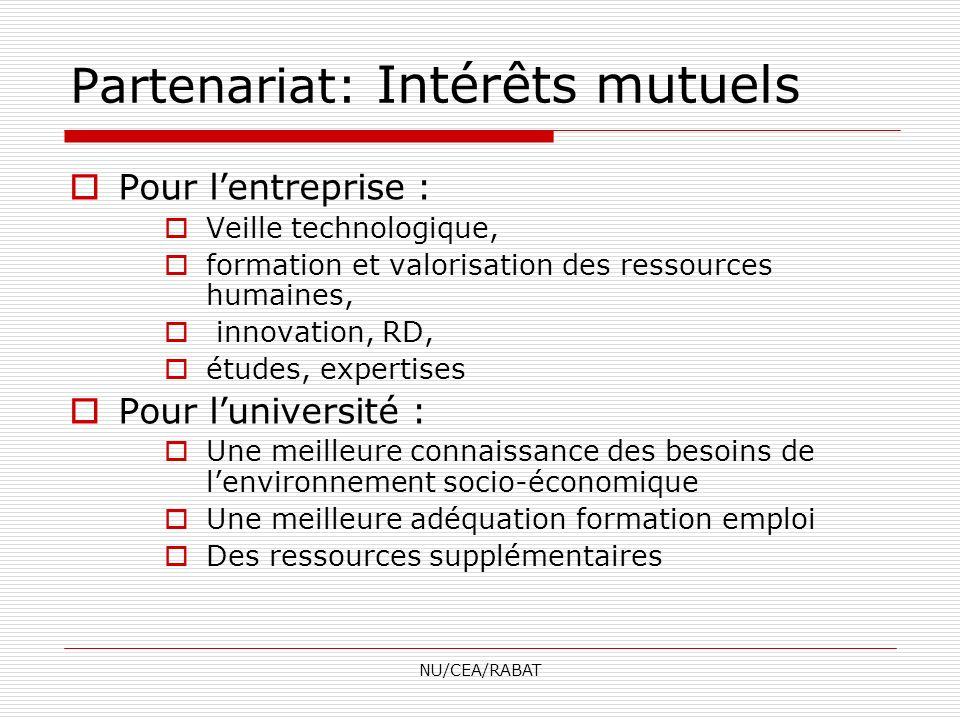 NU/CEA/RABAT Partenariat avec lANAPEC Guichet Moukawalati (en cours de création) Partenariat avec CGEM Organisation des journées de sensibilisation à la création dentreprise Entreprenariat à lUniversité : Autres projets Objectifs du programme : - Lappui à la création de petites entreprises - La pérennisation des entreprises créées.
