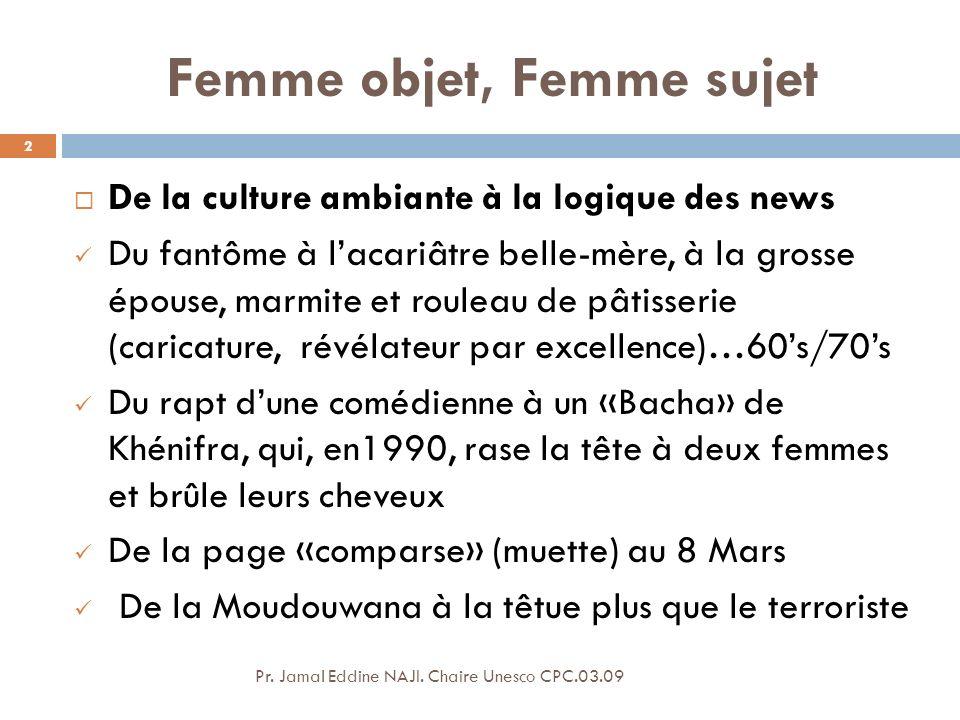 Comme société Au féminin… Débattons alors ! 23 Pr. Jamal Eddine NAJI. Chaire Unesco CPC.03.09