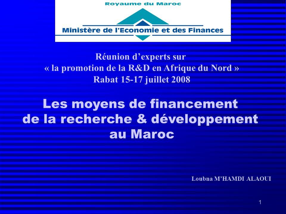 1 Réunion dexperts sur « la promotion de la R&D en Afrique du Nord » Rabat 15-17 juillet 2008 Les moyens de financement de la recherche & développemen