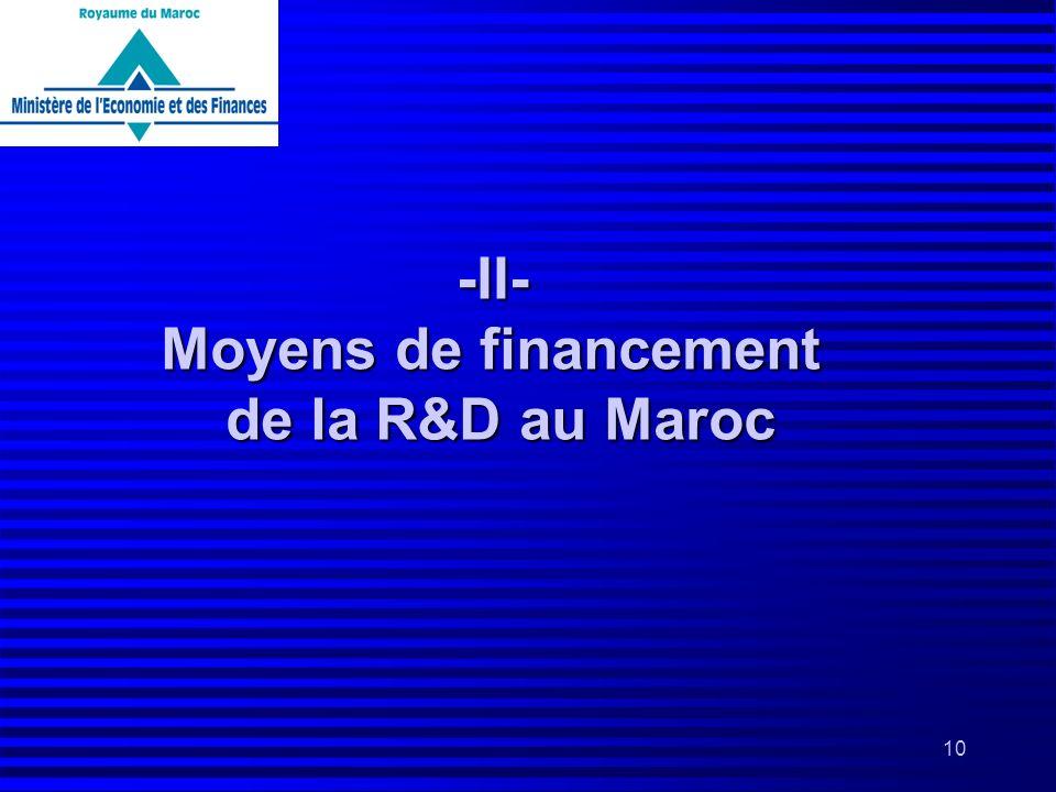 10 -II- Moyens de financement de la R&D au Maroc