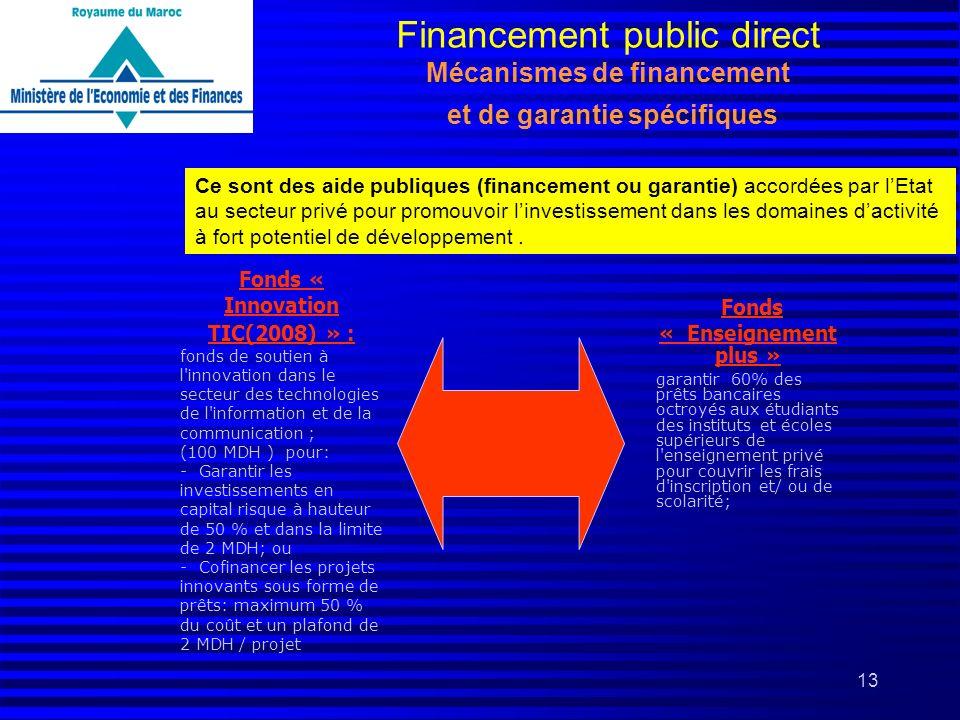13 Financement public direct Mécanismes de financement et de garantie spécifiques Ce sont des aide publiques (financement ou garantie) accordées par l