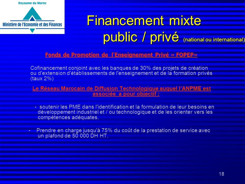 18 Financement mixte public / privé (national ou international) Le Réseau Marocain de Diffusion Technologique auquel lANPME est associée a pour object