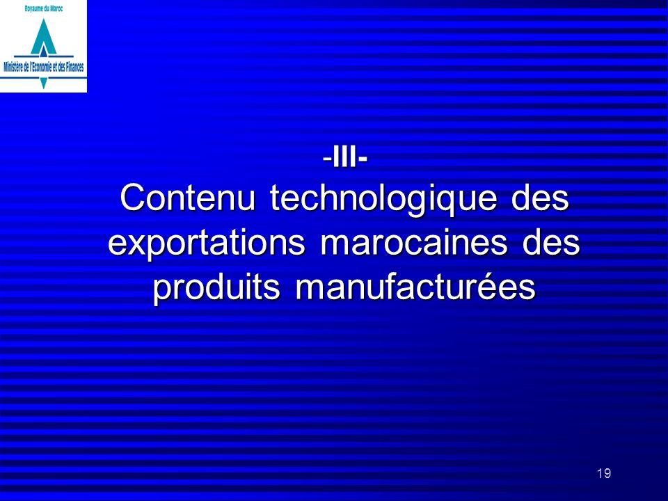 19 -III- Contenu technologique des exportations marocaines des produits manufacturées