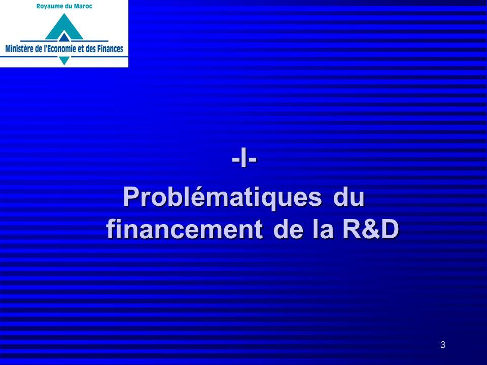 3 -I- Problématiques du financement de la R&D
