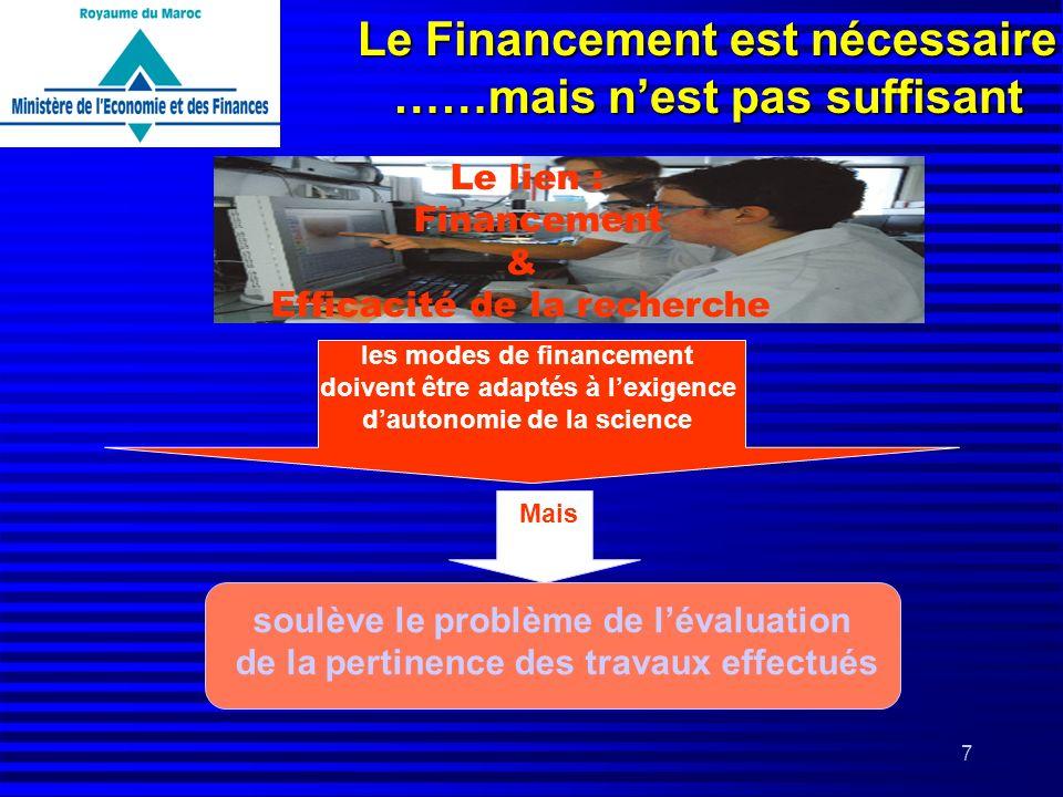 7 Le Financement est nécessaire ……mais nest pas suffisant Le lien : Financement & Efficacité de la recherche les modes de financement doivent être ada