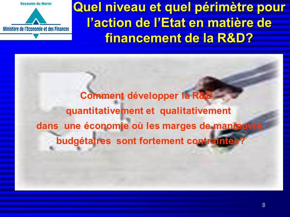 8 Quel niveau et quel périmètre pour laction de lEtat en matière de financement de la R&D? Comment développer la R&D quantitativement et qualitativeme