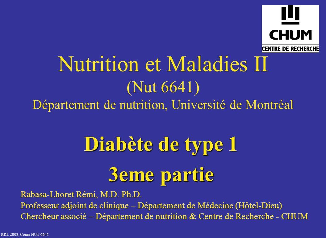 RRL 2003, Cours NUT 6641 Schéma insulinique à 4 injections 8:0012:0016:0020:0024:00 4:00 Glycémie Repas NPH(Lente/analogue lent)Rapide(analogue rapide)