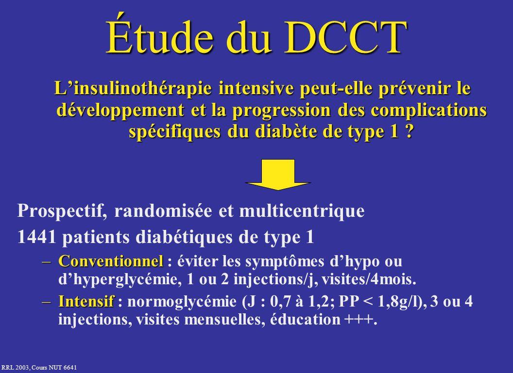 RRL 2003, Cours NUT 6641 Étude du DCCT Linsulinothérapie intensive peut-elle prévenir le développement et la progression des complications spécifiques