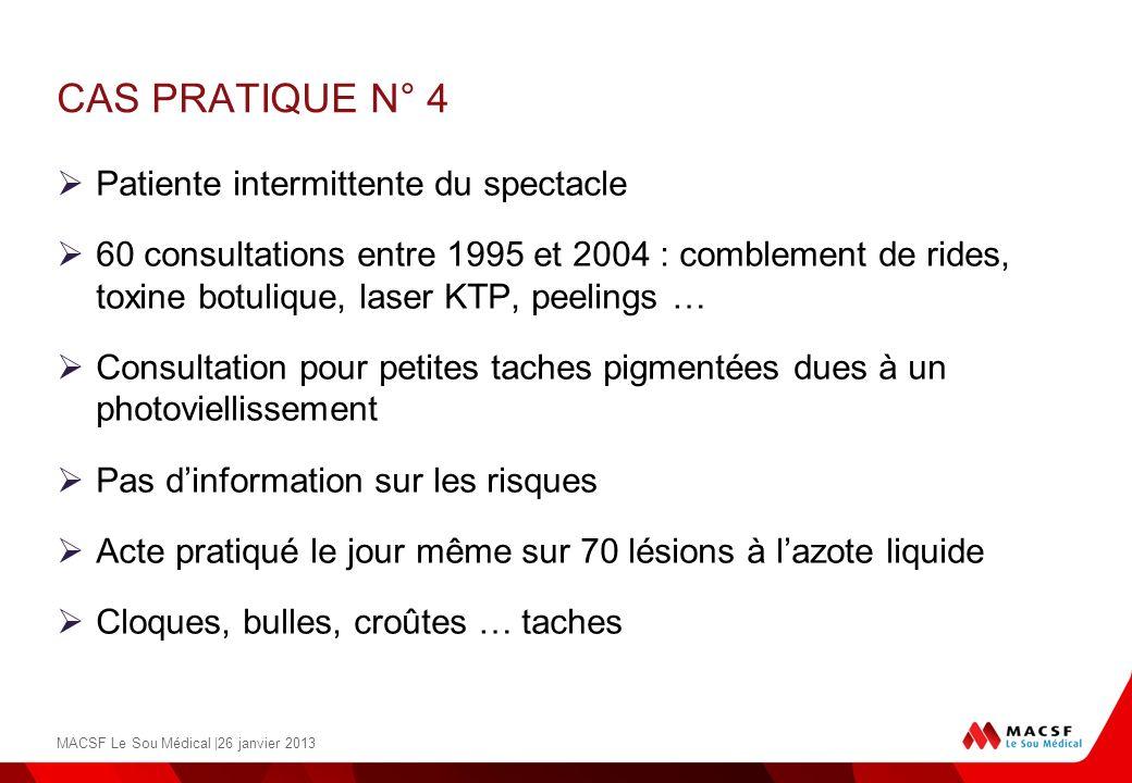 CAS PRATIQUE N° 4 Patiente intermittente du spectacle 60 consultations entre 1995 et 2004 : comblement de rides, toxine botulique, laser KTP, peelings