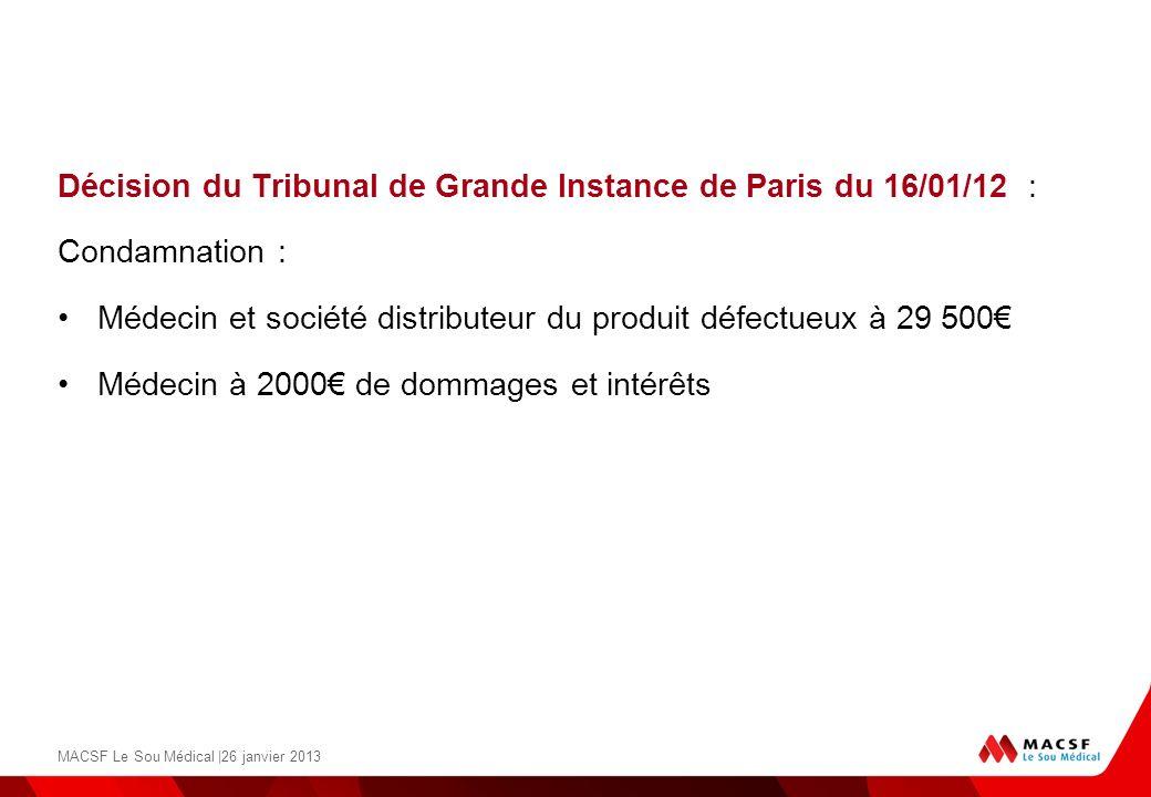 Décision du Tribunal de Grande Instance de Paris du 16/01/12 : Condamnation : Médecin et société distributeur du produit défectueux à 29 500 Médecin à