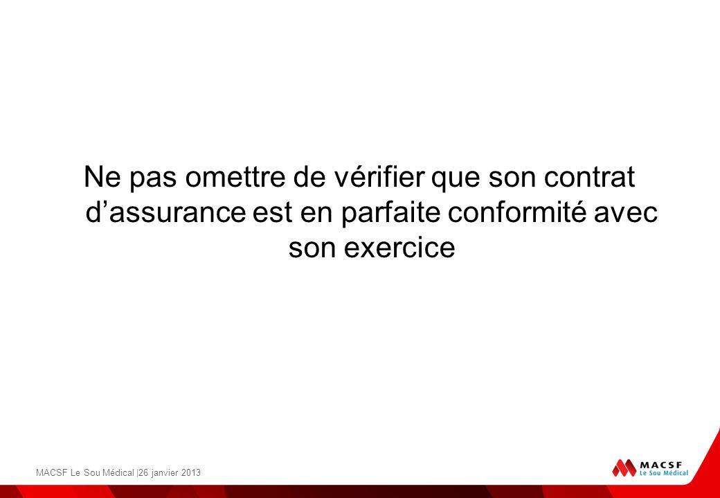 Ne pas omettre de vérifier que son contrat dassurance est en parfaite conformité avec son exercice MACSF Le Sou Médical |26 janvier 2013