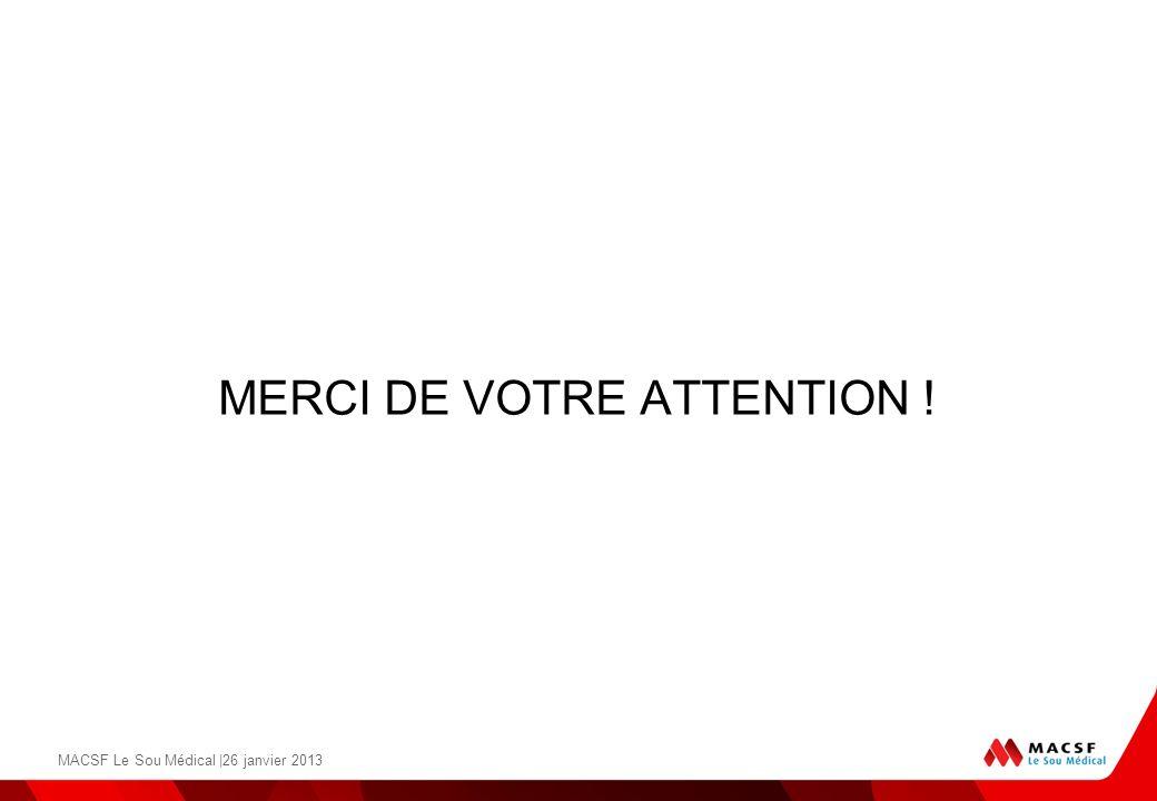 MERCI DE VOTRE ATTENTION ! MACSF Le Sou Médical |26 janvier 2013