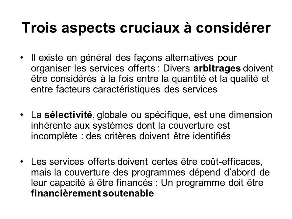 Trois aspects cruciaux à considérer Il existe en général des façons alternatives pour organiser les services offerts : Divers arbitrages doivent être