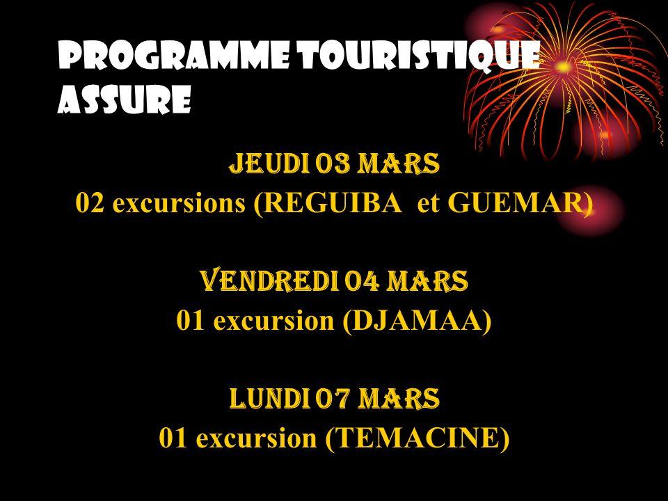 PROGRAMME TOURISTIQUE ASSURE JEUDI 03 mars 02 excursions (REGUIBA et GUEMAR) VENDREDI 04 mars 01 excursion (DJAMAA) LUNDI 07 mars 01 excursion (TEMACI