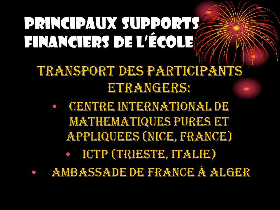 PRINCIPAUX SUPPORTS FINANCIERS DE lÉCOLE TRANSPORT DES PARTICIPANTS ETRANGERS: CENTRE INTERNATIONAL DE MATHEMATIQUES PURES ET APPLIQUEES (NICE, France