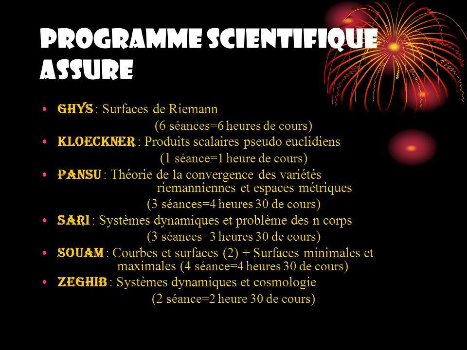 PROGRAMME SCIENTIFIQUE ASSURE COMMUNICATIONS Blanchet (1 heure) Borelli (1 heure) Abchir (1 heure) El Soufi (1 heure) Ayadi (1 heure) Hattab (1 heure) Benbernou (1 heure) Belkhalfa (30 minutes) Niang (30 minutes) Kashani (30 minutes)