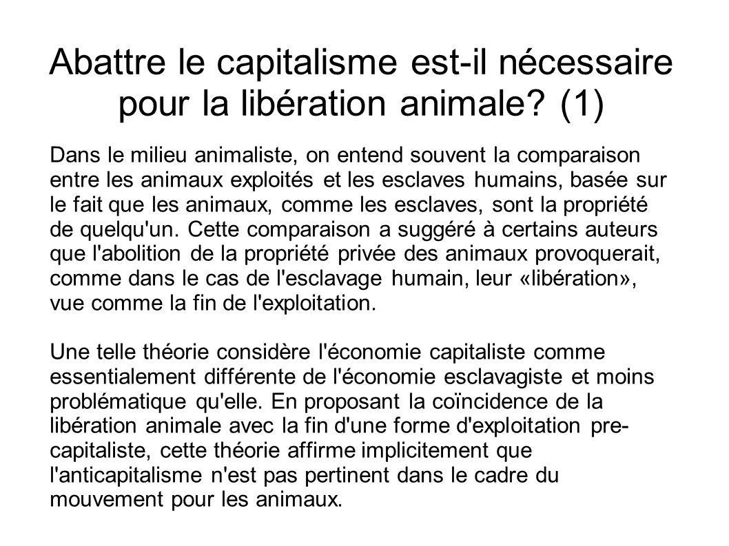 Abattre le capitalisme est-il nécessaire pour la libération animale? (1) Dans le milieu animaliste, on entend souvent la comparaison entre les animaux