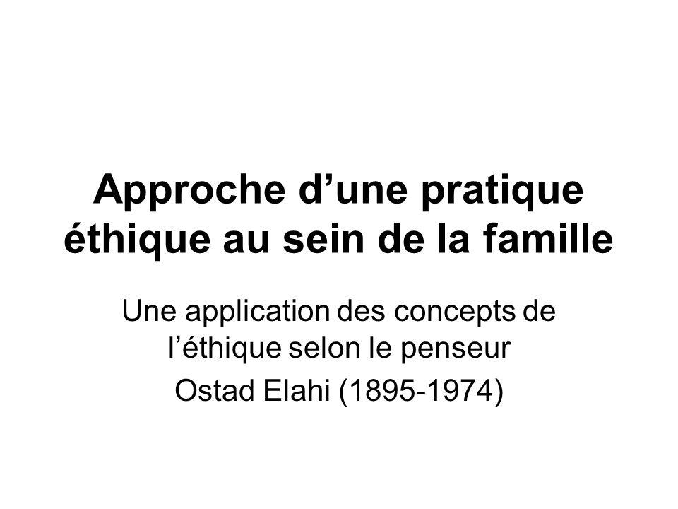 Approche dune pratique éthique au sein de la famille Une application des concepts de léthique selon le penseur Ostad Elahi (1895-1974)