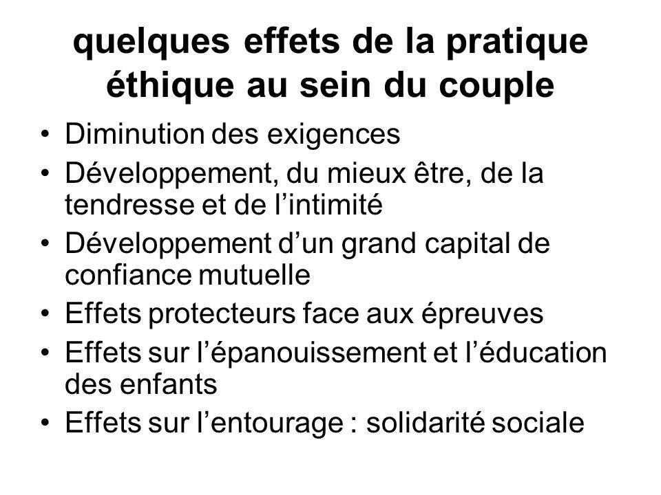 quelques effets de la pratique éthique au sein du couple Diminution des exigences Développement, du mieux être, de la tendresse et de lintimité Dévelo