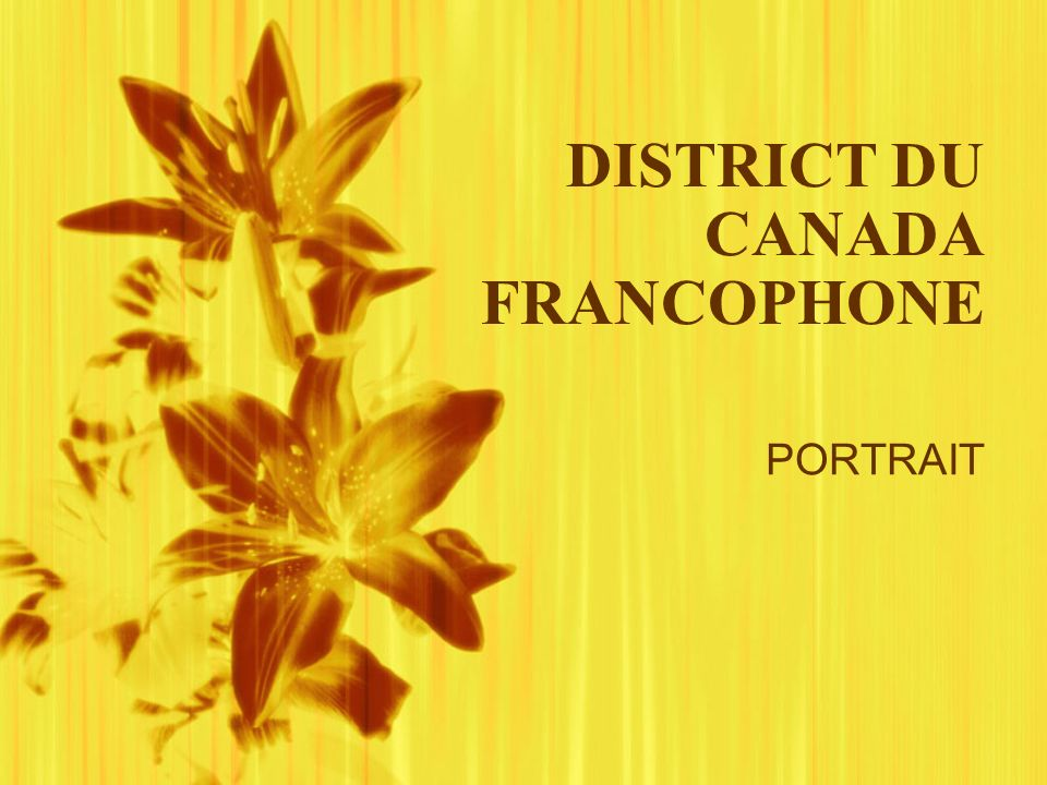 DISTRICT DU CANADA FRANCOPHONE PORTRAIT