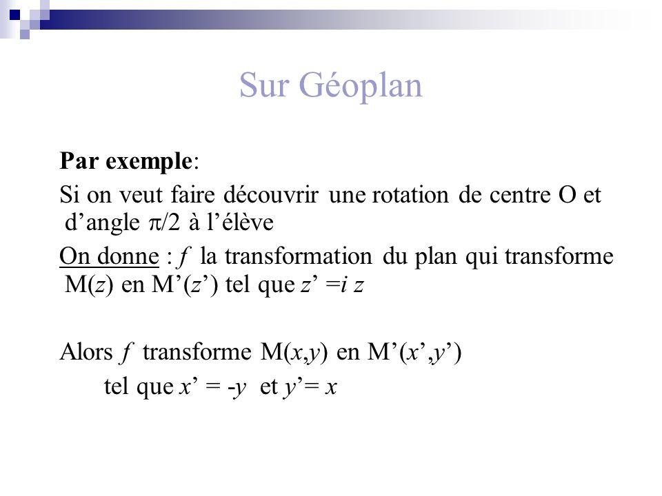 Sur Géoplan Par exemple: Si on veut faire découvrir une rotation de centre O et dangle /2 à lélève On donne : f la transformation du plan qui transforme M(z) en M(z) tel que z =i z Alors f transforme M(x,y) en M(x,y) tel que x = -y et y= x