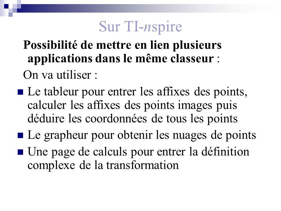Sur TI-nspire Possibilité de mettre en lien plusieurs applications dans le même classeur : On va utiliser : Le tableur pour entrer les affixes des poi