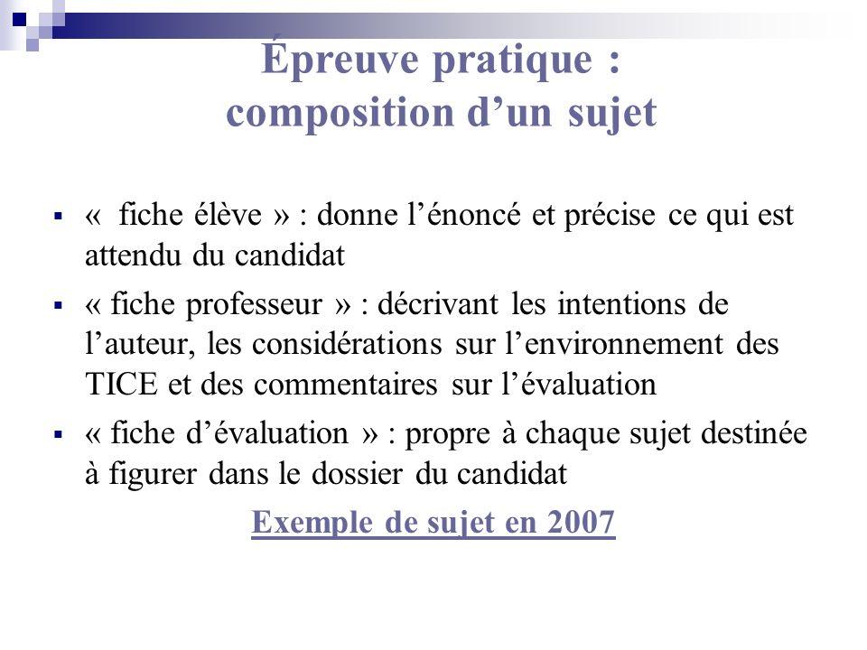 Épreuve pratique : composition dun sujet « fiche élève » : donne lénoncé et précise ce qui est attendu du candidat « fiche professeur » : décrivant le