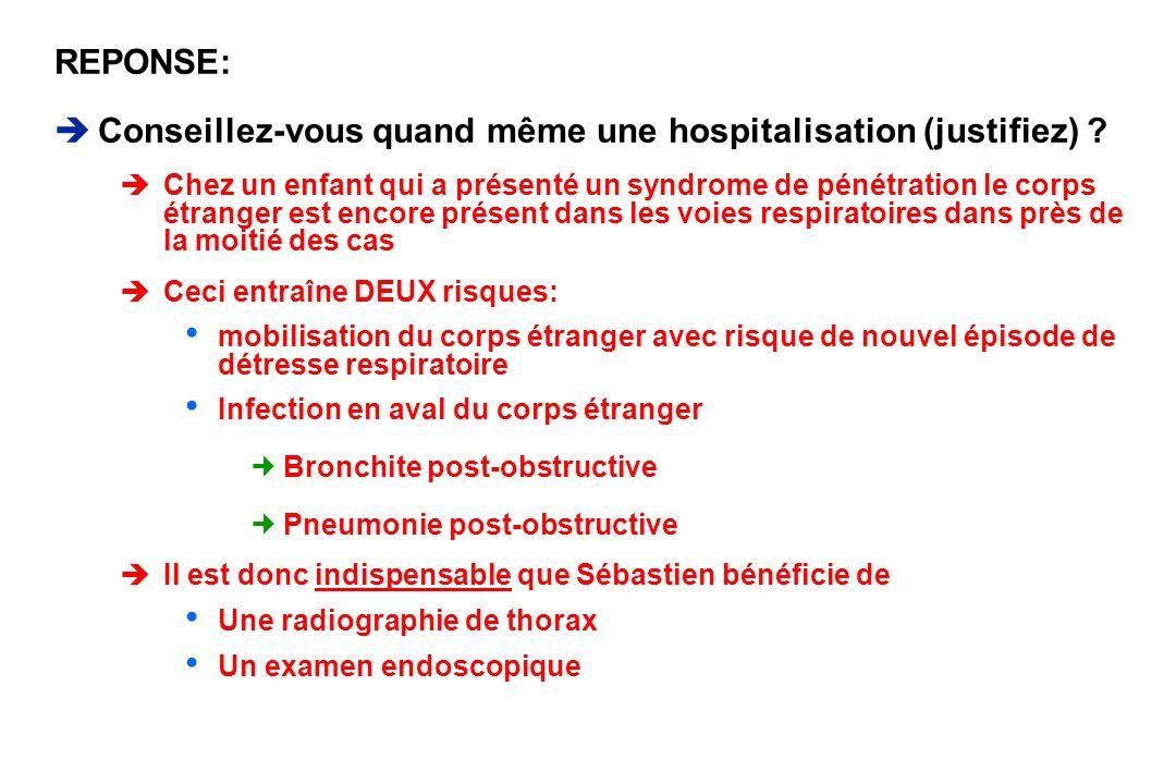 REPONSE: Conseillez-vous quand même une hospitalisation (justifiez) ? èChez un enfant qui a présenté un syndrome de pénétration le corps étranger est