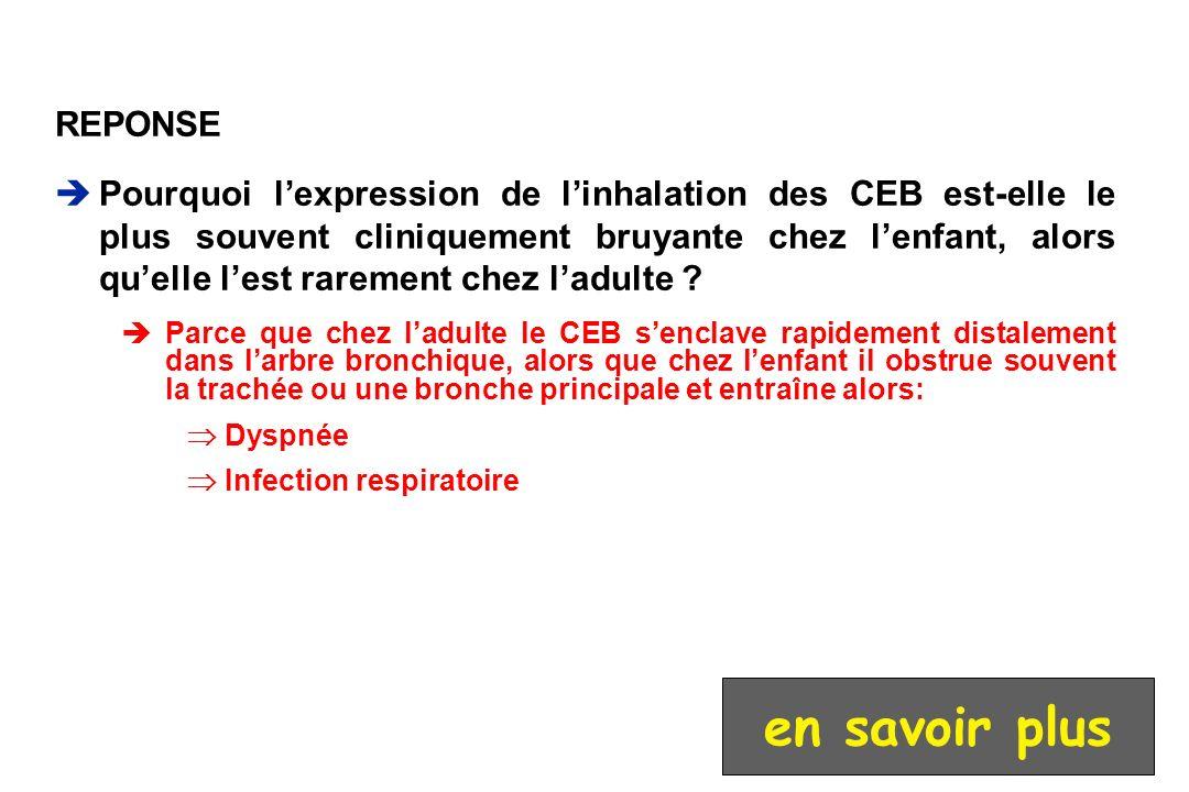REPONSE Pourquoi lexpression de linhalation des CEB est-elle le plus souvent cliniquement bruyante chez lenfant, alors quelle lest rarement chez ladul