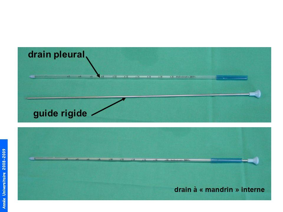 Année Universitaire 2008-2009 drain pleural guide rigide drain à « mandrin » interne