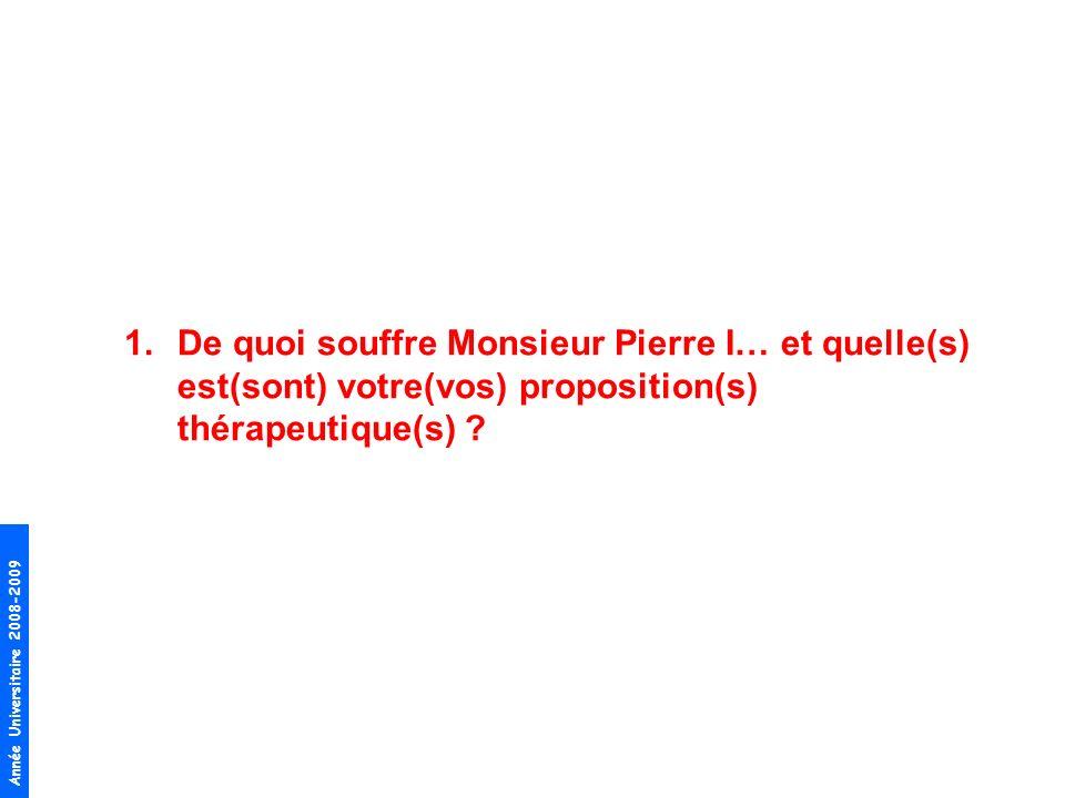1.De quoi souffre Monsieur Pierre I… et quelle(s) est(sont) votre(vos) proposition(s) thérapeutique(s) ?