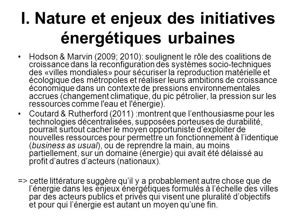 I. Nature et enjeux des initiatives énergétiques urbaines Hodson & Marvin (2009; 2010): soulignent le rôle des coalitions de croissance dans la reconf