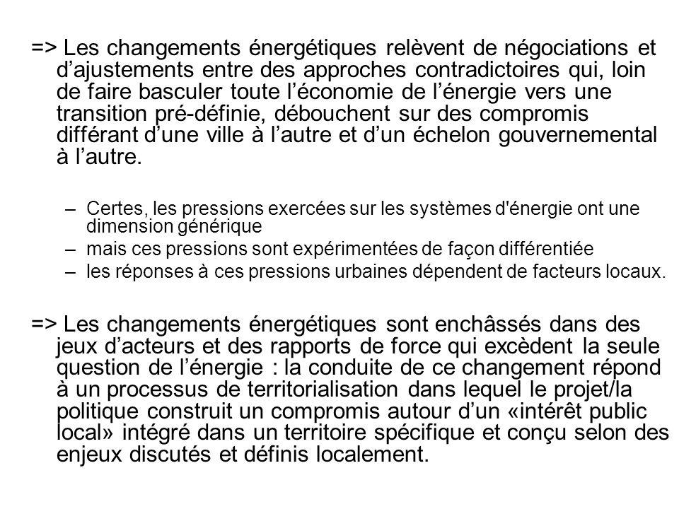 => Les changements énergétiques relèvent de négociations et dajustements entre des approches contradictoires qui, loin de faire basculer toute léconom