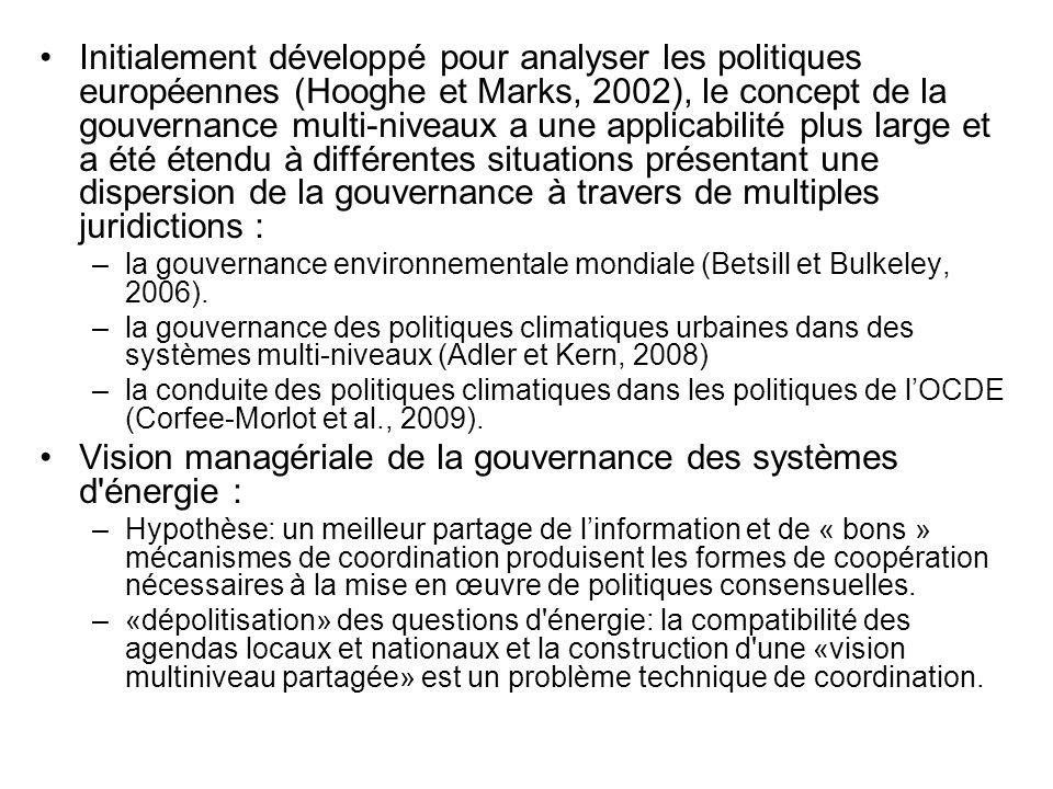 Initialement développé pour analyser les politiques européennes (Hooghe et Marks, 2002), le concept de la gouvernance multi-niveaux a une applicabilit