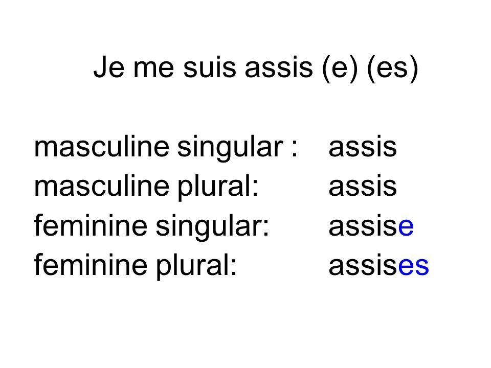 masculine singular : assis masculine plural: assis feminine singular: assise feminine plural: assises