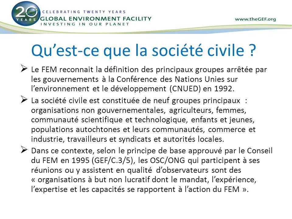 Les politiques du FEM liées à la participation des OSC au niveau des projets Participation du public dans les projets financés par le FEM : Politique approuvée par le Conseil du FEM en avril 1996.